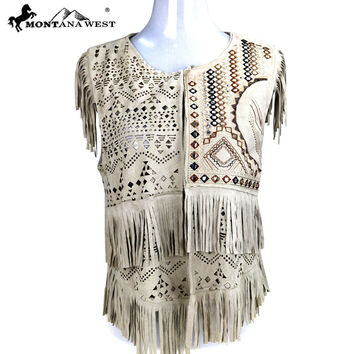 Montana West Suede-Like Fringe Short Vest in Off White  MWH PCH-1643-OW