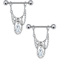 "14 Gauge 5/8"" Clear Teardrop Chain Dangle Nipple Ring Set"