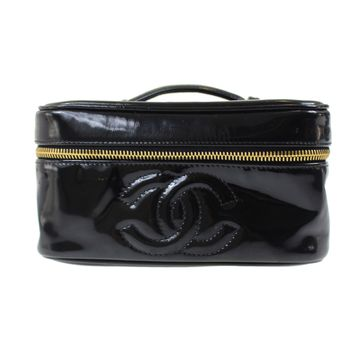 CHANEL Cosmetic Vanity Pouch Bag Black Enamel Italy Vintage Authentic #E298 W