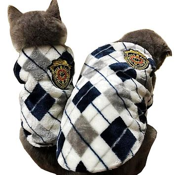Red /Yellow /Gray  Autumn Winter Flannel Cat Vest  Cat Shirt  Pet outfit Cat Coat Clothes for Small Cat