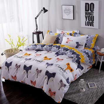 JU Home Textile Cartoon Fox 3/4pcs Bedding Sets Children's Beddingset Bed Linen Duvet Cover Bed Sheet Pillowcase/bed Set