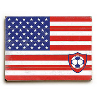 US Flag With Soccer Ball by Artist Peter Horjus Wood Sign