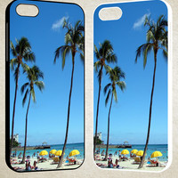 Oahu Hawaii Palm trees F0546 iPhone 4S 5S 5C 6 6Plus, iPod 4 5, LG G2 G3, Sony Z2 Case