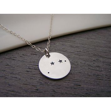 Dainty Sterling Silver Zodiac Aries Constellation Necklace / Gift for Her