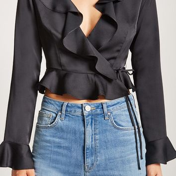 Self-Tie Ruffle Top