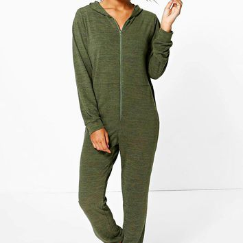 Phoebe Knitted Zip Front Hooded Onesuit   Boohoo