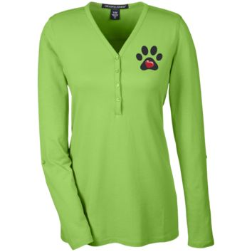 "Embroidered ""My Heart"" Paw Print Ladies' Henley Knit Top"