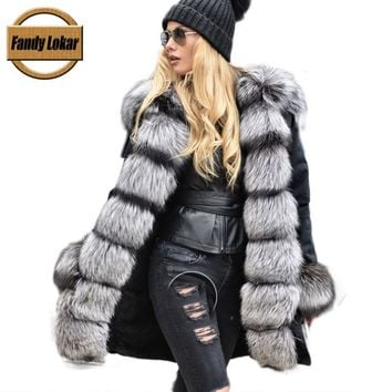 Real Silver Fox Fur Collar Coat Women Winter Real Rex Rabbit Fur Liner Loose Puffer Jacket With Hat Women Army Bomber FP9119