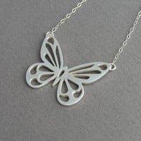 Butterfly  Pendant Necklace - Sterling Silver - Butterfly Jewelry - Handmade Jewelry