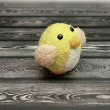 Popcorn Birdie - Needle Felting Sculpture - Felted Bird - Soft Animal - Handmade Art