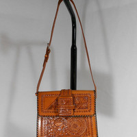 Vintage 1970s Tooled Leather Purse by SemiPreciousGarnetts on Etsy