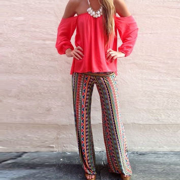 2015 Women Summer Long Pants Floral Print  High Waist Trouser Casual Loose Style Hot Sell = 1667481540