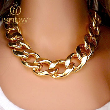 Gold&Silver Tones Plated CCB Chain Necklaces