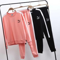 puma women fashion print top sweatshirt pants sweatpants set two piece sportswear