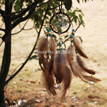 Artistic New fashion gift Hot brown Dreamcatcher skull Wind Chimes Indian Style Feather Pendant Dream Catcher Gift