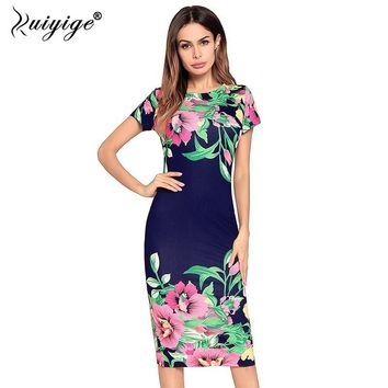 Ruiyige Summer Vintage Floral Print Dress Women Boho Casual Elegant Party Midi Dresses Sexy Beach O neck Sheath Vestidos