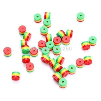 100pcs/lot 8/9mm DIY charm Jamaica reggae rasta three colors red yellow green resin zebra stripe spacer loose bead