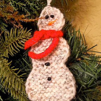Hand Knit Snowman Ornament with Scarf