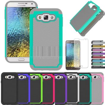 Dual Layer Rubber Impact Armor Hard Rugged Hybrid Silicone Case Cover With Films+Stylus For Samsung Galaxy E5 E500H E500F