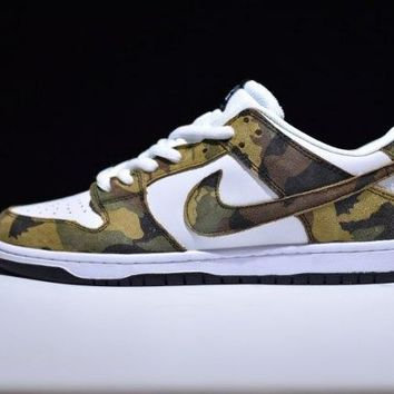 Radient Nike SB Zoom Dunk Low Pro Camo Olive Legion Green Trainers Men's Running Shoe