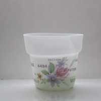 Small planter from fine bone china with vintage flowers illustrations and text- illustrated ceramics