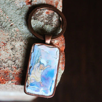 Angel Backstroke - Broken China Key Chain, Mosaic Pendant, Stocking Stuffer, Designer Key Chain, Split Ring Key Chain, Angel Key Ring