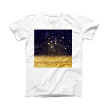 The Raining Gold and Purple Sparkle ink-Fuzed Front Spot Graphic Unisex Soft-Fitted Tee Shirt