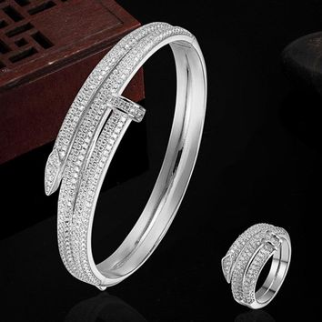 Luxury Brand Copper Gold-color Bracelet Anniversary Jewelry Europe Design Cubic Zircon Bracelet Bijoux Love Bangles Pulseira