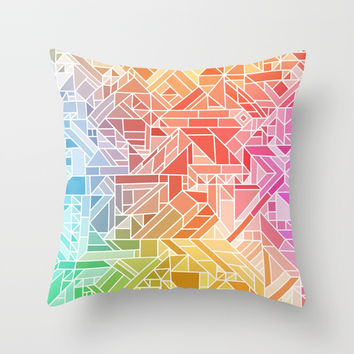 BRIGHT VIBRANT GRADIENT GEOMETRIC SHAPES RAINBOW PRINT TILED MOSAIC TIE DYE COLORFUL Throw Pillow by AEJ Design