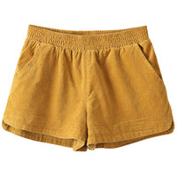 ROMWE | ROMWE Split Sides Stretchy Waist Yellow Shorts, The Latest Street Fashion