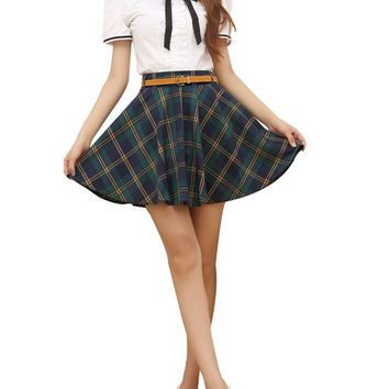 Gihuo Women's Schoolgirls Plaid Pleated High Waist Mini Tartan Skirt Highland (Medium, Green)