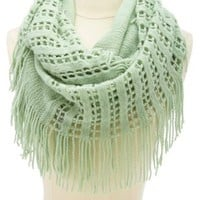 Mixed Knit Fringe Infinity Scarf by Charlotte Russe