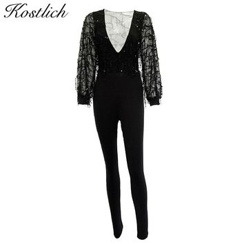 Kostlich Tassels Women Jumpsuit 2017 Deep V Mesh See Through Sequined Rompers Womens Jumpsuit Long Sleeve Sexy Women Playsuits