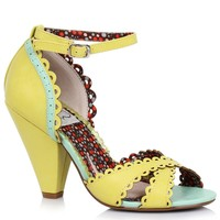 Yellow Scallop Leatherette Minny Retro d'Orsay Peep Toe Heels