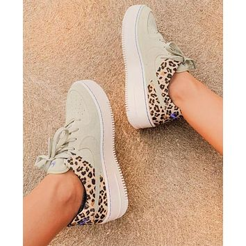 Nike Air Force 1 AF1 Beige Leopard Tail Shoes Women Sneakers