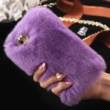 Copy of Warm Fluffy Plush PURPLE Faux FUR Bling Case Cover Skin For iPhone 6/ 6S Plus FREE SHIPPING USA ONLY