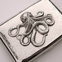 Cigarette Case Octopus Vintage Style Silver by CosmicFirefly