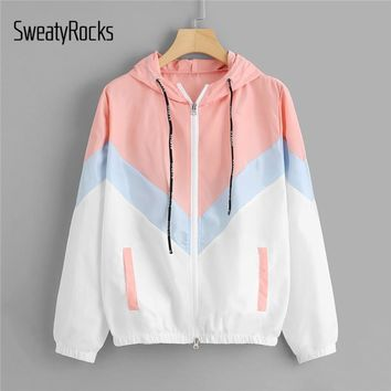 Trendy Winter Jacket SweatyRocks Hooded Chevron Windbreaker  Patchwork s Women Color Block Zipper  Fall Casual Coats Outerwear AT_92_12