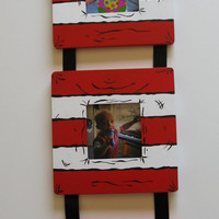 Hand Painted Cat in the Hat Striped Keepsake3 photo hanging frame