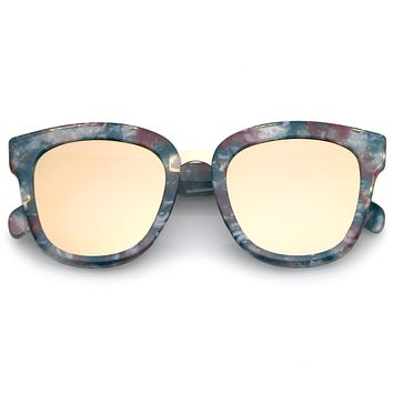 Women's Marble Mirrored Flat Lens Cat Eye Sunglasses C152