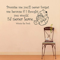 Wall Decals Quote Decal Promise me you'll never forget me Winnie The Pooh Sayings Sticker Vinyl Decals Wall Decor Murals Z348