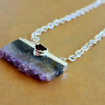 Stalactites Amethyst Slice Necklace - 24k Gold Trimmed Rectangle Amethyst Slice - Purple Geode Necklace - Natural Stone - Bohemian Jewelry