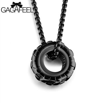 Statement Necklace Cool Tire Wheel Pendants Necklaces For Punk Men Jewelry Stainless Steel 3 Colors New Arrival Gifts