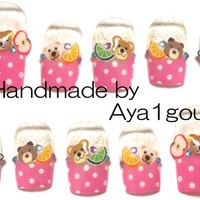 Japanese nail art, teddy bears lolita nails, koguma