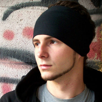 Mens Headband, Black Headband, Men's Headbands, Running Headband, Ear Warmer Headwarp (Item 1101) Large