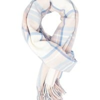 Oversized Plaid Wrap Scarf by Charlotte Russe - Pink Combo