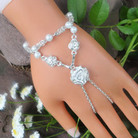 Silver Rose Slave Bracelet, Infinity Bracelet Ring, Wedding Bracelet, Bridal Jewelry