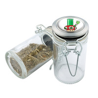 Glass Stash Jar - Mario Shroom Bong - Storage Container -  Custom Herb Grinder Secret Stash Box - Stay Fresh Herbs 1/6 oz.