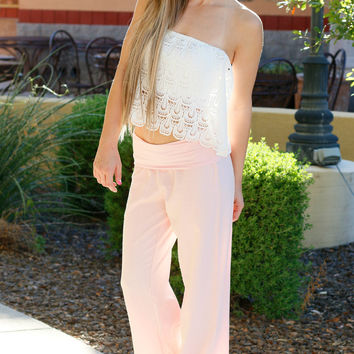 BEACH LINEN PANTS IN BLUSH