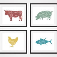 Butcher Chart, Cow, Pig, Chicken, Fish, Kitchen Art Print, Butcher Diagram, Set of 4 Prints, Kitchen Wall Art, Meat Cuts, Rustic Kitchen Art